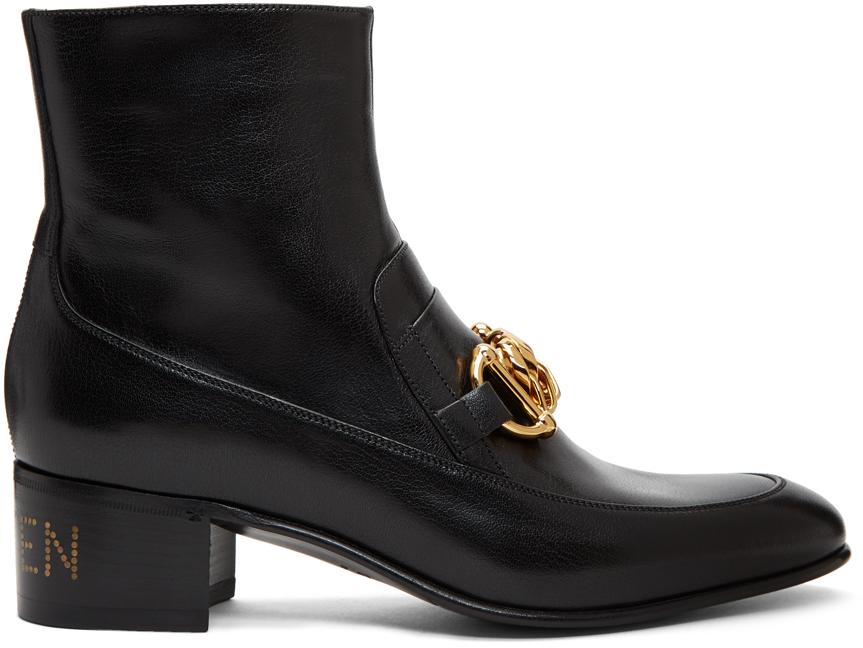 Gucci Black 'Kitten' Horsebit Chain Boots