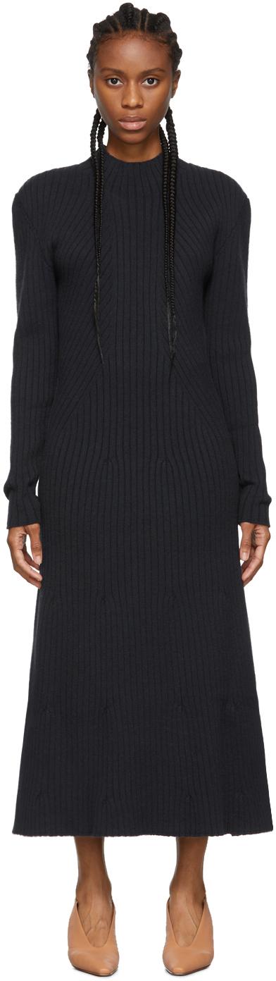 LOW CLASSIC Navy Knit Long Dress