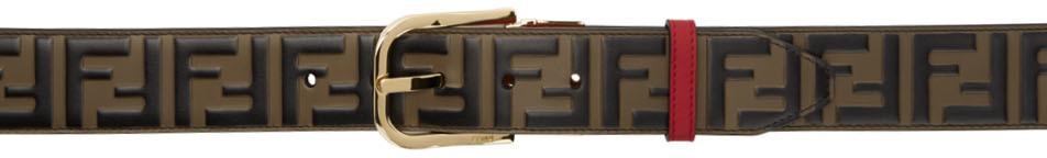 Fendi Reversible Brown & Red 'Forever Fendi' Belt