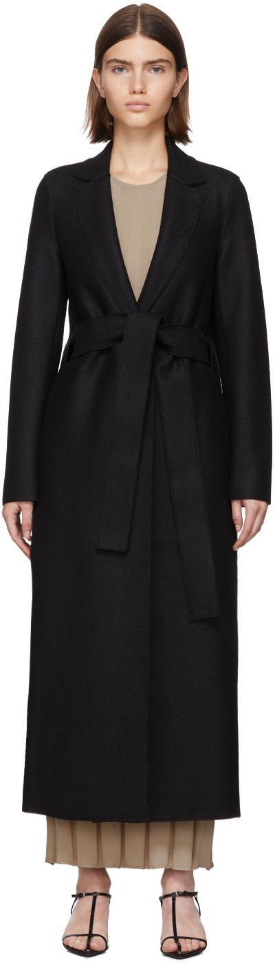 Harris Wharf London Black Pressed Wool Belted Coat