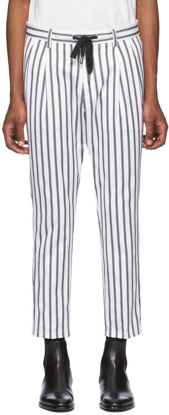 Dolce & Gabbana White & Black Striped Trousers