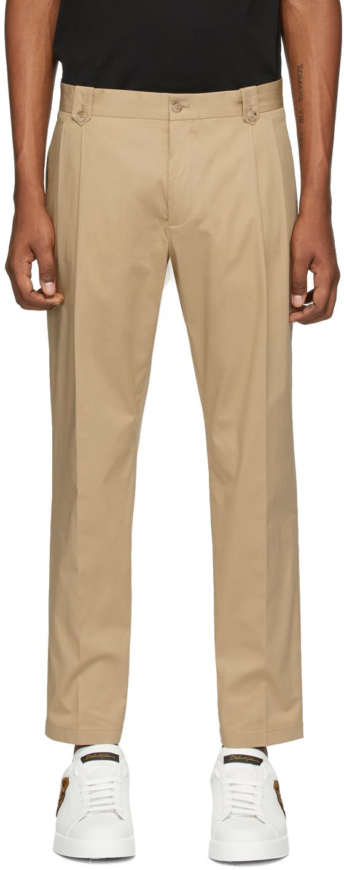 Dolce & Gabbana Beige Straight Leg Trousers