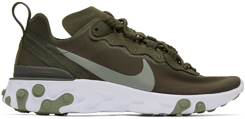 Nike Green & White React Element 55 Sneakers
