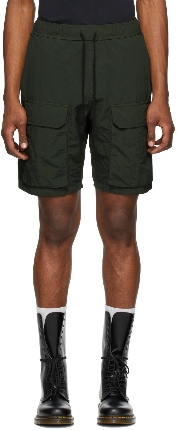 Reese Cooper Green Nylon Cargo Shorts
