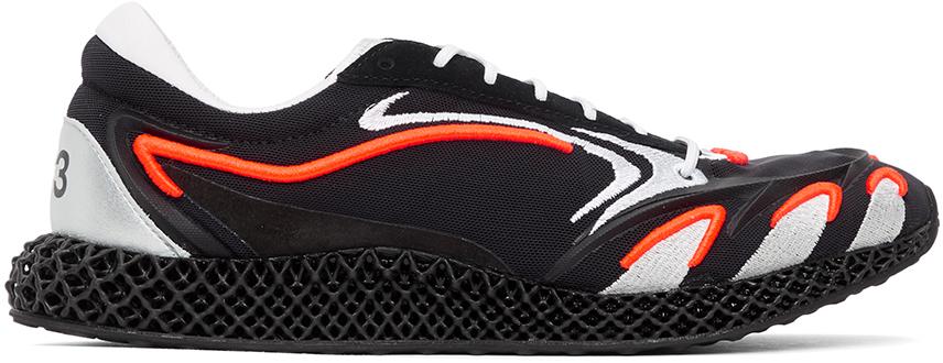 Y-3 Black & Orange Runner 4D Sneakers
