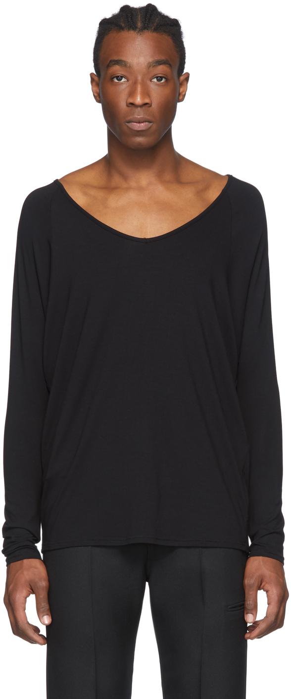 Random Identities Black Drapey V-Neck T-Shirt