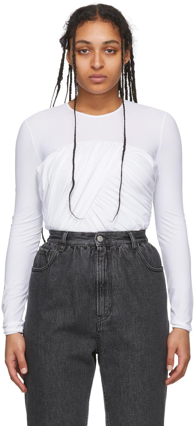 MM6 Maison Margiela White Ruched Bodysuit