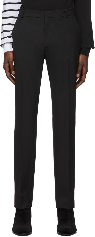 Balmain Black Wool Satin Trousers