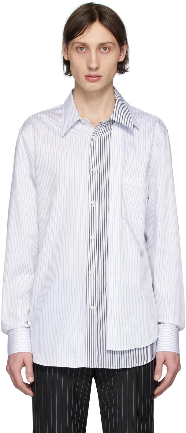 Alexander McQueen White & Black Striped Layered Shirt