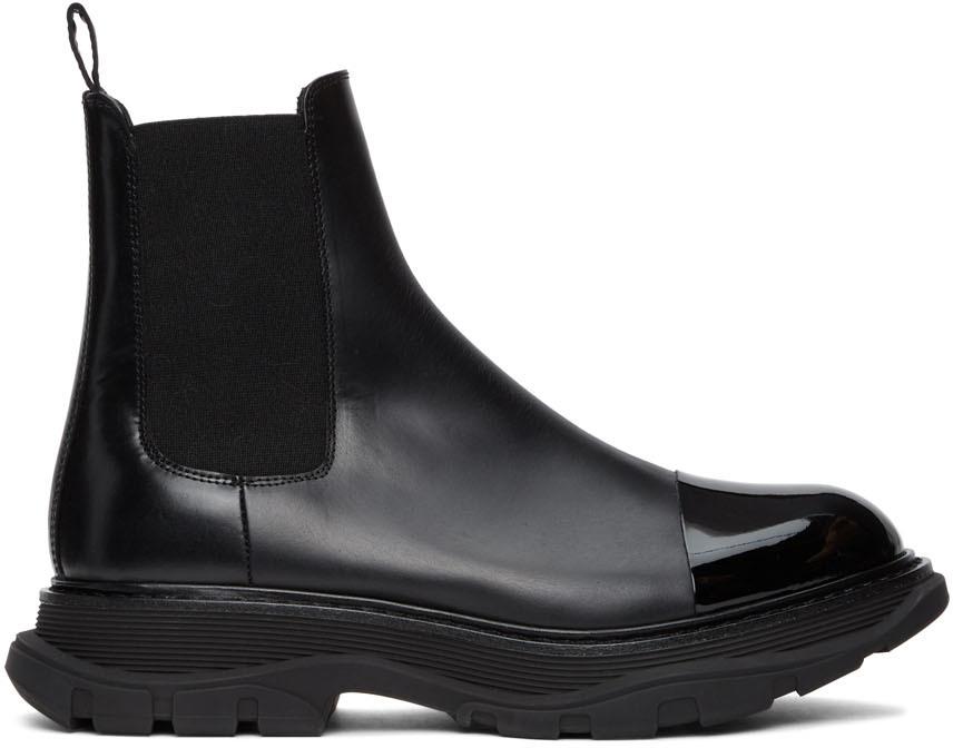 Alexander McQueen Black Shiny Toe Chelsea Boots