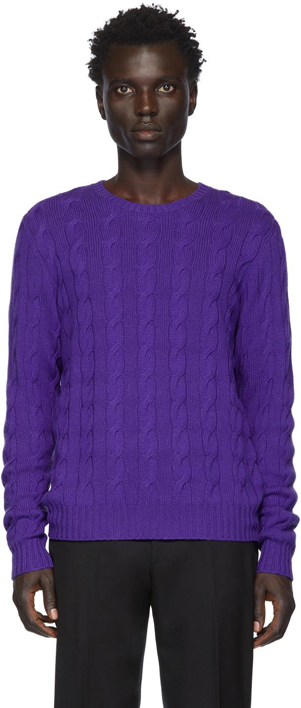 Ralph Lauren Purple Label Purple Cashmere Cable-Knit Sweater