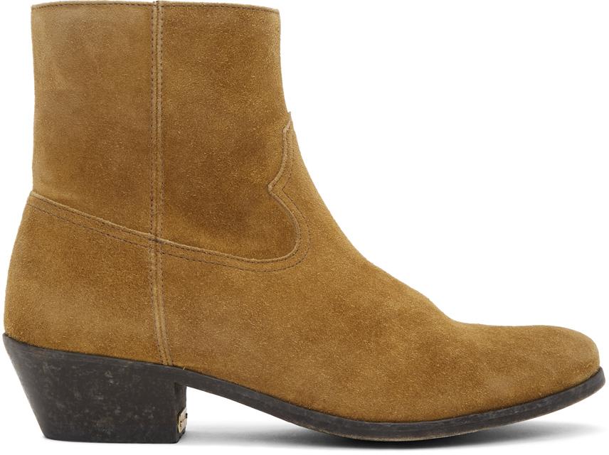 Golden Goose Brown Suede Cowboy Boots