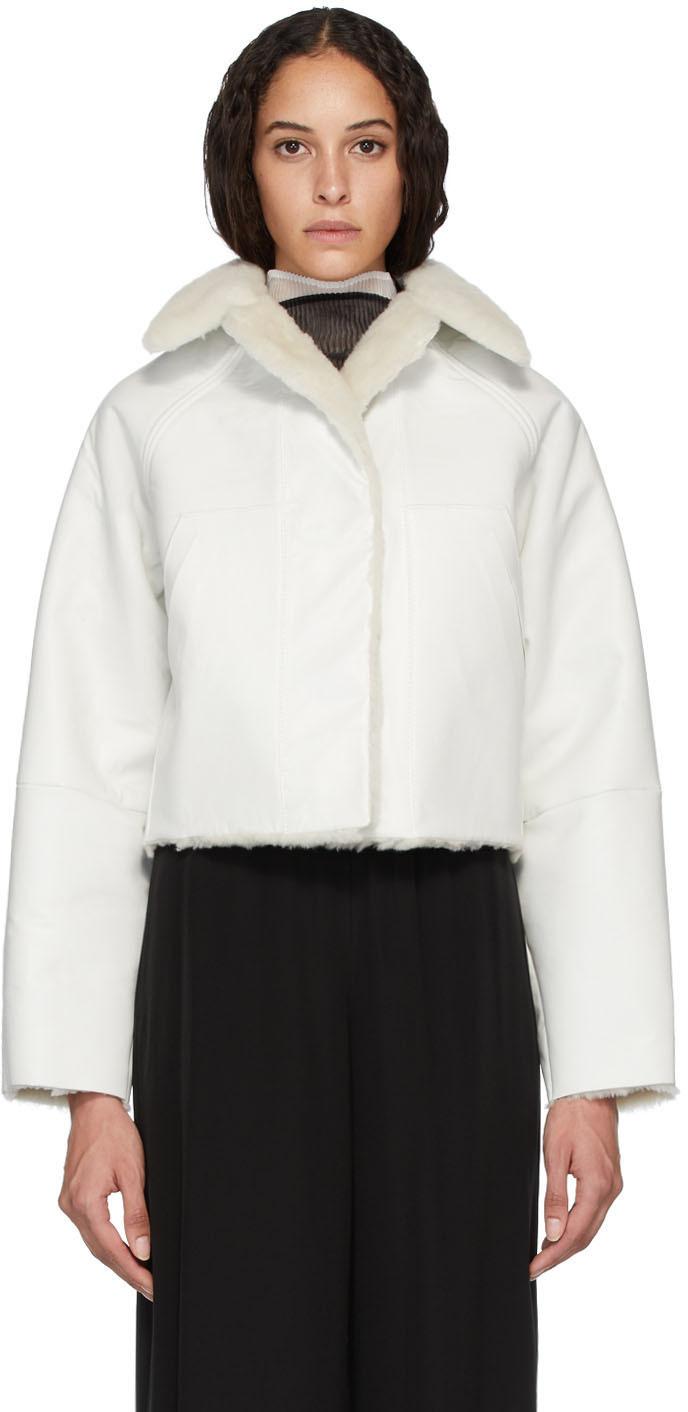 KASSL Editions Reversible White Sheepskin Coat