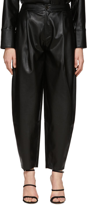 Áeron Black Faux-Leather Fran Trousers