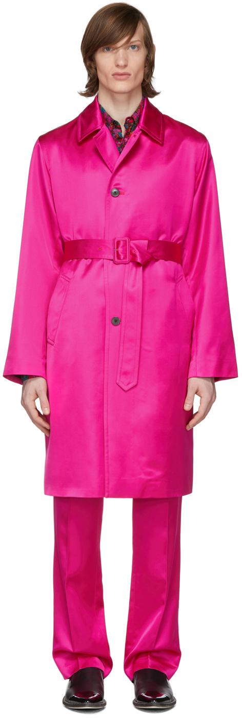 Dries Van Noten Pink Satin Long Coat
