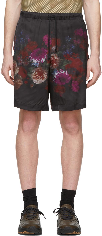Dries Van Noten Black Floral Print Shorts