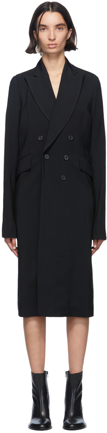 Ann Demeulemeester Black Bethany Double-Breasted Coat