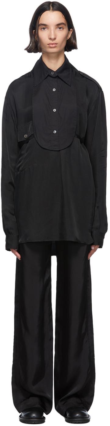 Ann Demeulemeester Black Cotton Bavet Shirt