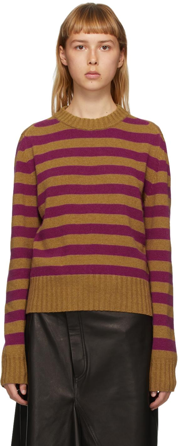 Rika Studios SSENSE Exclusive Tan & Purple Striped Sunny Sweater