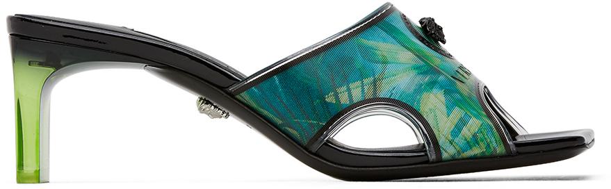 Versace Green & Blue Hologram Jungle Print Mules