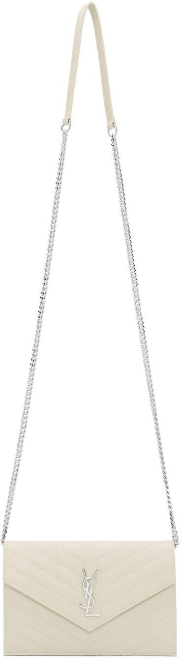 Saint Laurent White Monogramme Envelope Chain Wallet Bag