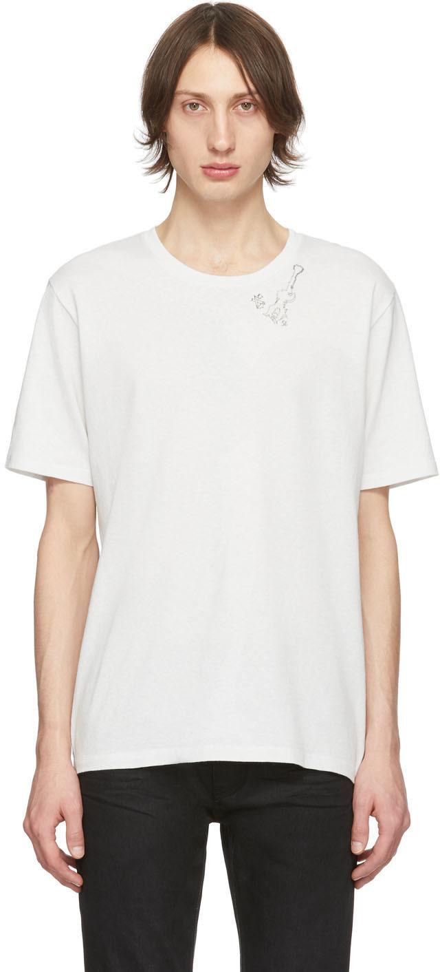 Saint Laurent Off-White Guitar Print T-Shirt