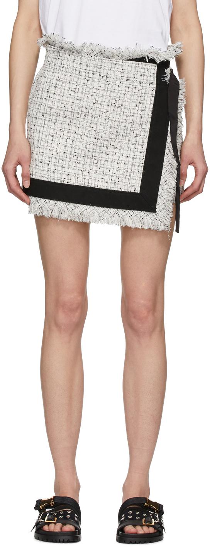 Sacai White Wool Summer Tweed Skort