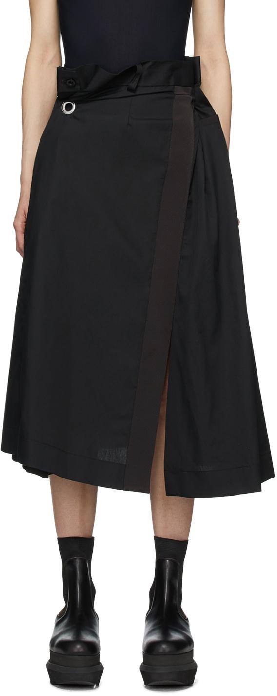 Sacai Black Poplin Gathered Waist Skirt