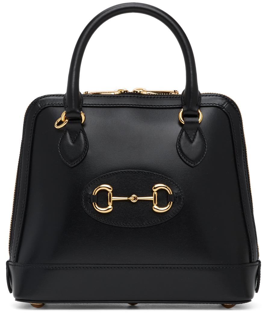 Gucci Black 'Gucci 1955' Horsebit Top Handle Bag