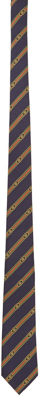 Gucci Navy Jacquard Tie