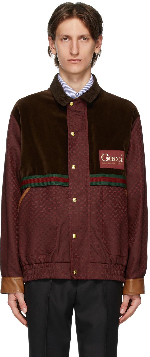 Gucci Brown & Burgundy GG Mignon Jacket