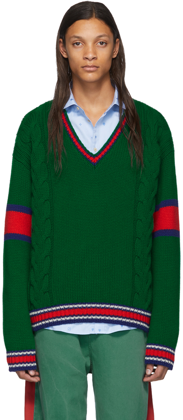 Gucci Green Cable Knit V-Neck Sweater