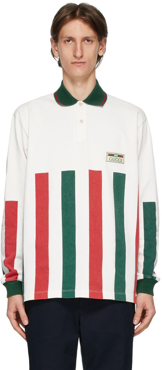 Gucci White Web Striped Long Sleeve Polo
