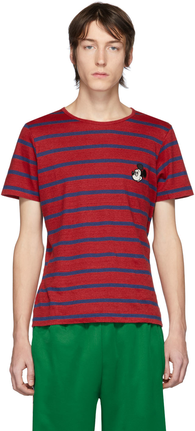 Gucci Red & Navy Disney Edition Linen Striped T-Shirt