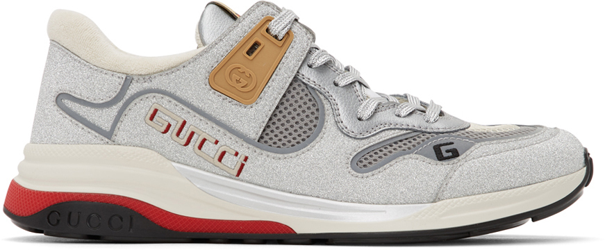 Gucci Silver Sparkling Ultrapace Sneakers