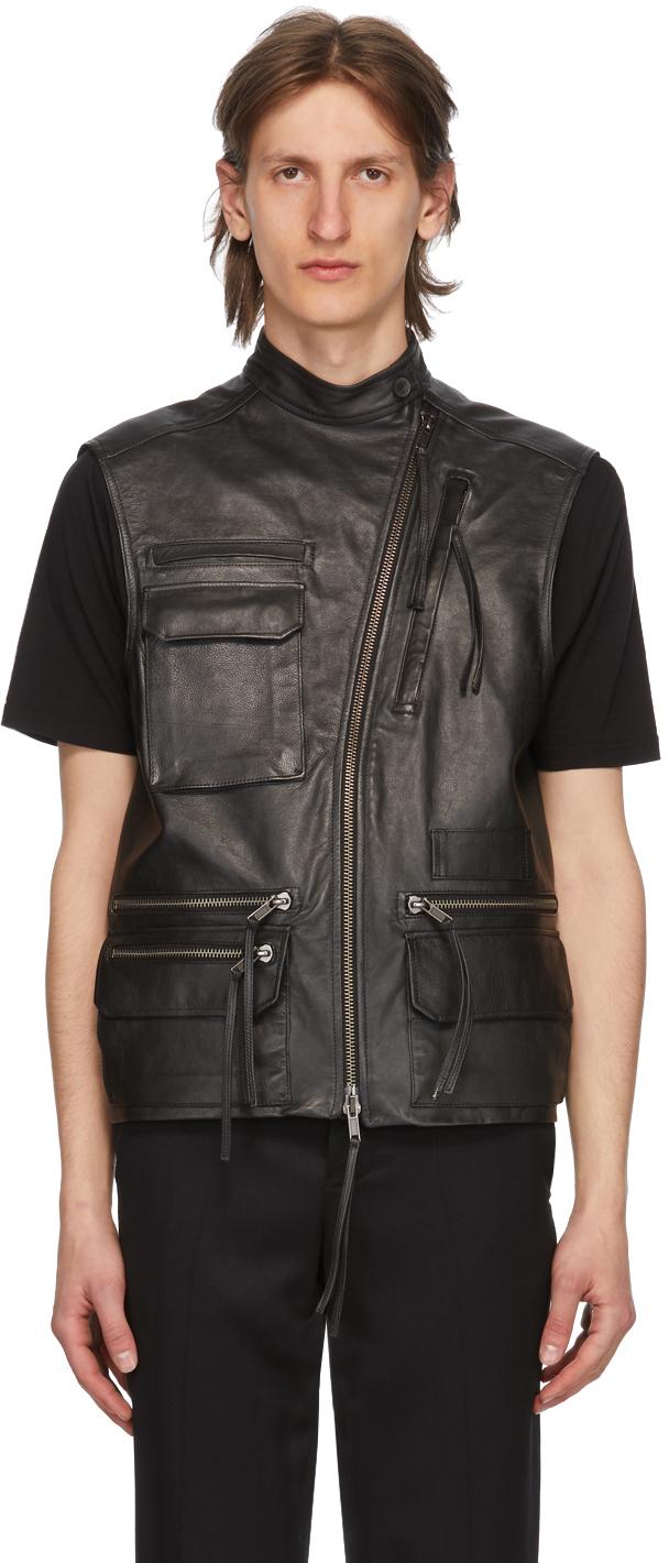 Haider Ackermann Black Leather Waistcoat Vest