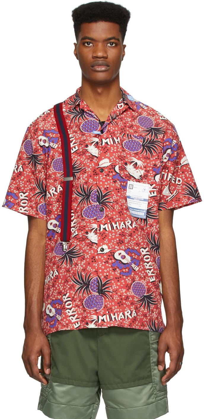 Miharayasuhiro Red Hawaiian Short Sleeve Shirt