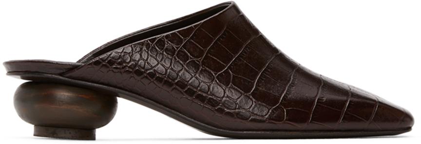 LOW CLASSIC Brown Croc Wood Heel Mules