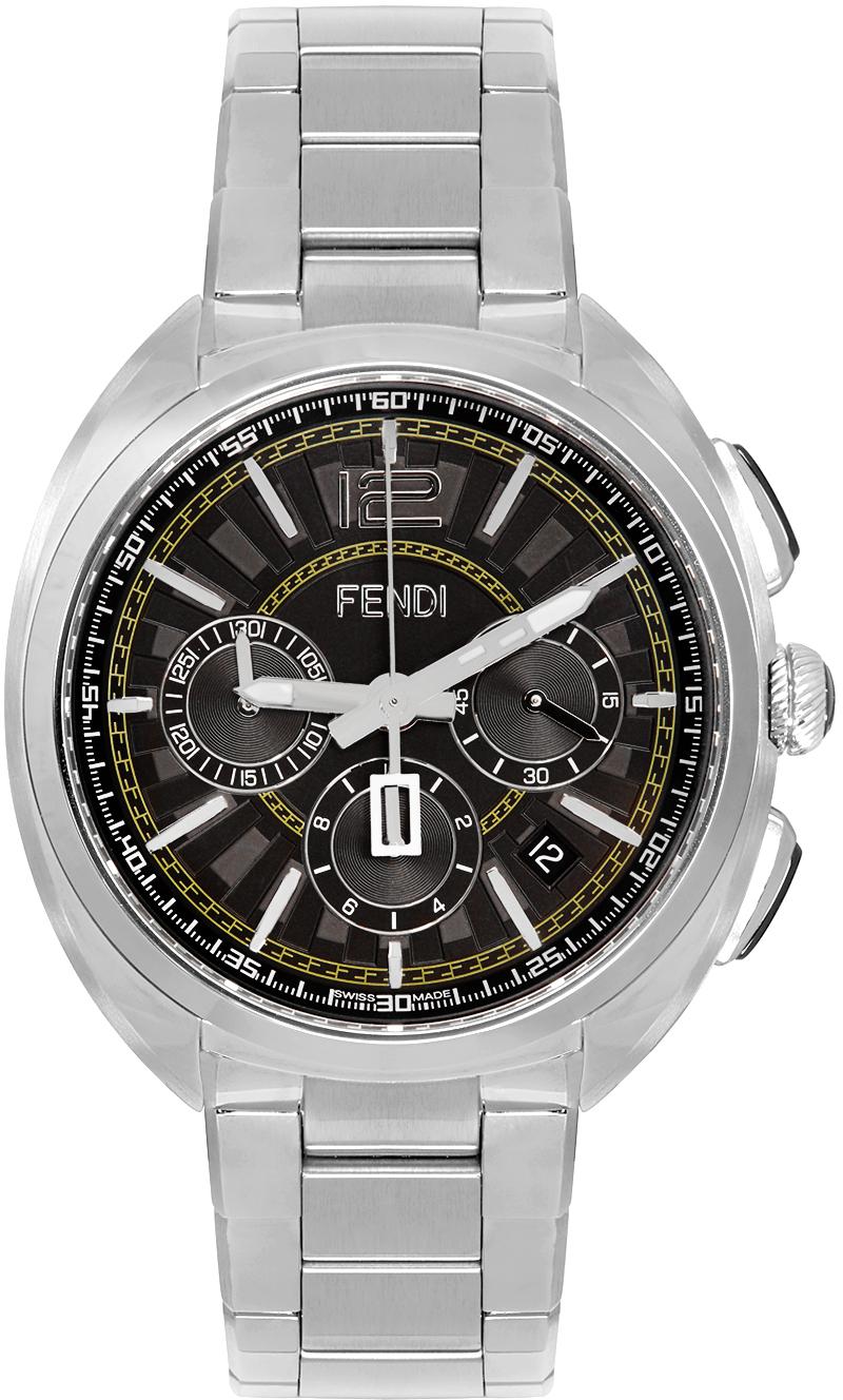 Fendi Silver 'Momento Fendi' Chronograph Watch