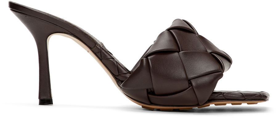 Bottega Veneta Brown Intrecciato Lido Heeled Sandals
