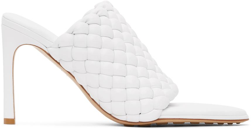 Bottega Veneta White Intrecciato Curve Heeled Sandals