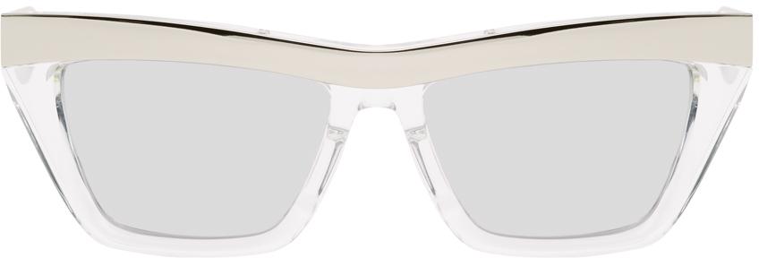 Bottega Veneta Silver Rectangular Sunglasses