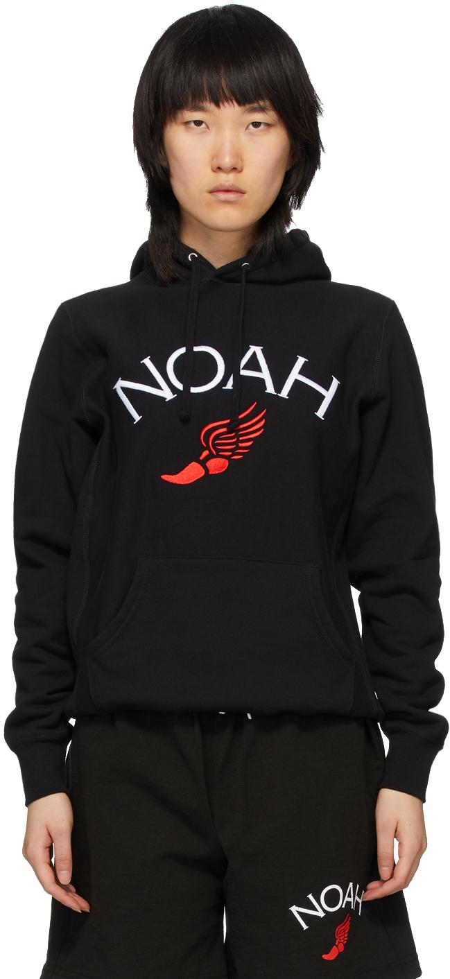 Noah Black Wing Foot Embroidered Hoodie