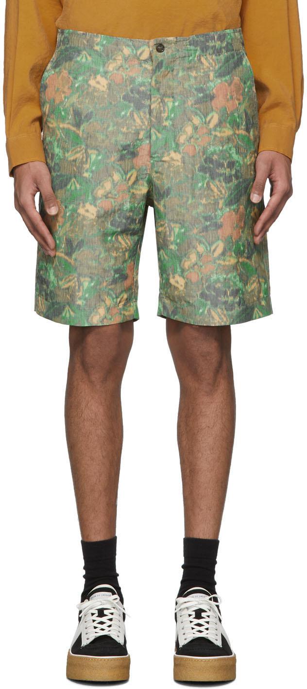 HOPE Green & Brown Linen Guard Shorts