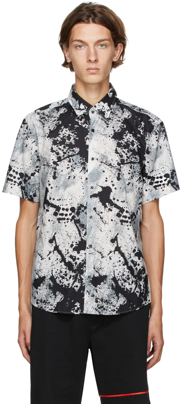 Hugo Grey & Black Ermino Short Sleeve Shirt