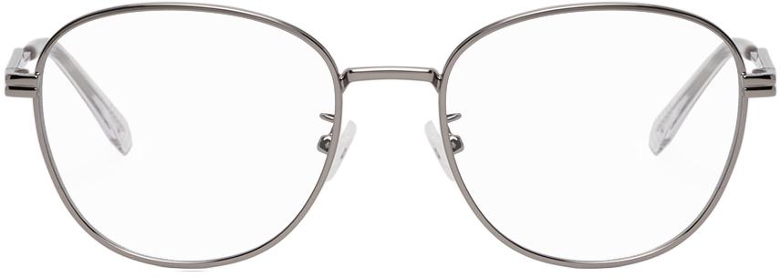Bottega Veneta Silver Round Glasses