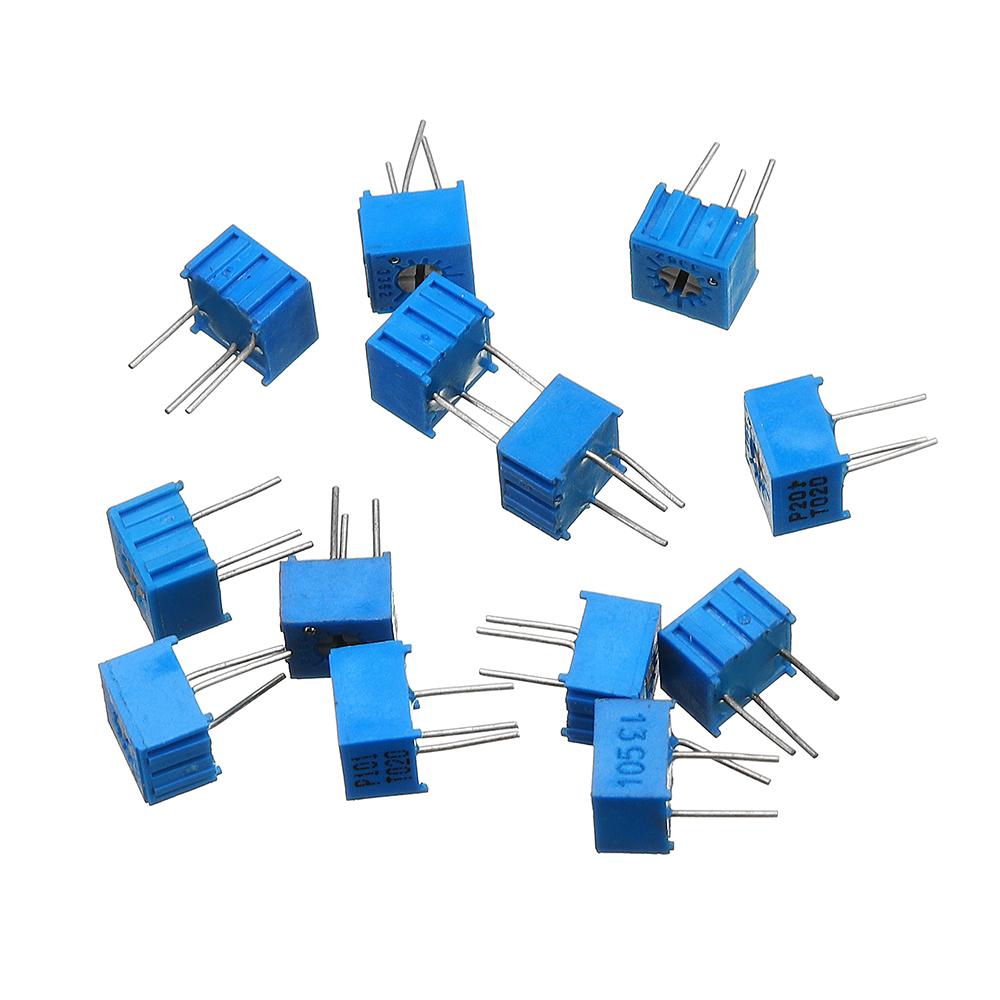 39Pcs 100R-1M Each 1 3362 Potentiometer Package 3362P Adjustable Resistor 25