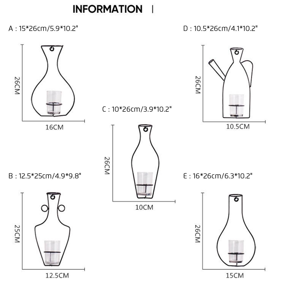 Original Nordic Metal Vase Glass Hydroponic Plant