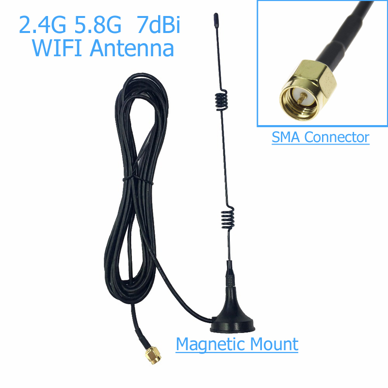 SMA 2.4 GHz 7dBi WIFI Antenna WLAN 5X Range Extender Magnetic Mount Signal Antenna 10