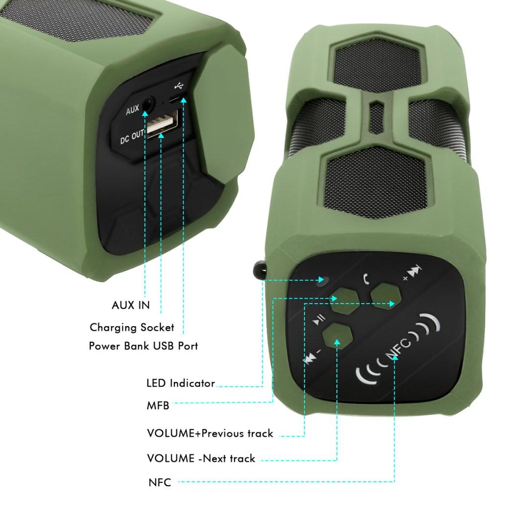 Elegiant IPX4 Waterproof Shockproof Bluetooth Speaker Portable Bass Subwoofer 13